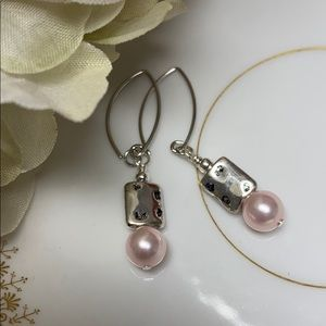 Pink pearl earring marquis ear wires rectangle